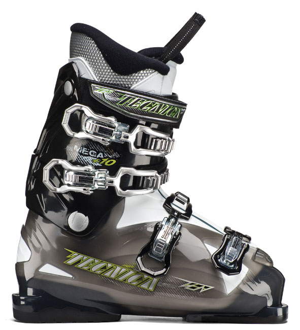 Ski Key Features of the Tecnica Mega 10 Ski Boots: Flex 70 Last 104 Liner Comfort fit PCS liner System PCS footbed Power Spoiler Progressive flex System 30mm Velcro Powerstrap Steel buckles triple Position Cuff Catches tongue handle Pull Strap Comfortfit liner - $199.99