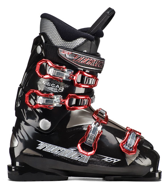 Ski Key Features of the Tecnica Mega 8 Ski Boots: Flex 60 Last 104 Liner Comfort fit PCS liner System PCS footbed Power Spoiler Progressive flex System 30mm Velcro Powerstrap Steel buckles triple Position Cuff Catches tongue handle Pull Strap Comfortfit liner - $199.99