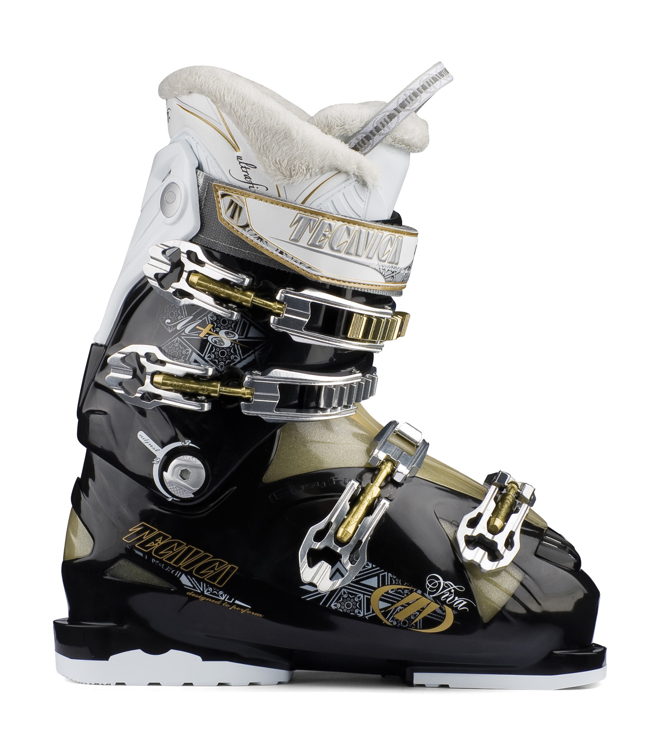 Ski Key Features of the Tecnica Viva M 8 Ski Boots: 3 Density Technology PCS Liner System Viva PCS Footbed Viva Heel Cradle Cuff Alignment Progressive Flex System Power Spoiler Mega Alu Micro Buckles Easy Move Cuff Catch Triple Position Cuff Catches Viva Flared Scalloped Calf Flex: 70 Last: 105mm: C-E Widths - $199.95