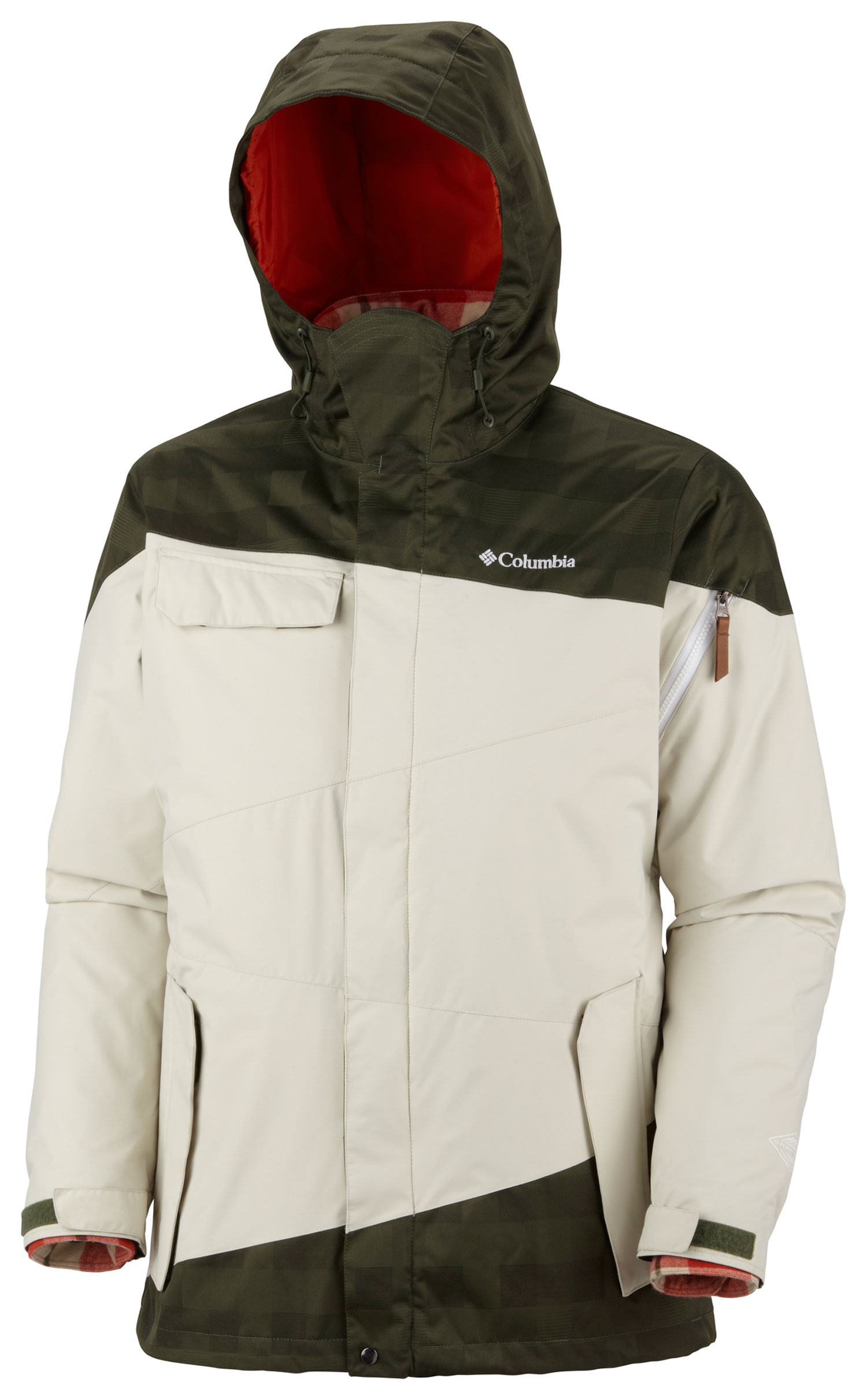 Ski Key Features of the Columbia Hells Mountain Interchange Ski Jacket: FABRIC Shell: 100% polyester Lumberjack Plaid. 100% nylon Legacy Twill. Lining: 100% nylon 210T taffeta. Liner: 90% acrylic/10% wool. Lining: 100% polyester taffeta. Insulation: 60% down/40% feather down. FIT Modern Classic Omni-Tech™ waterproof/breathable critically seam sealed Zip-in Interchange System Down fill liner Attached, adjustable storm hood Underarm venting Drawcord adjustable hem Adjustable, snap back powder skirt Jacket connector tab Media and goggle pocket Drop tail Nose guard - $174.95