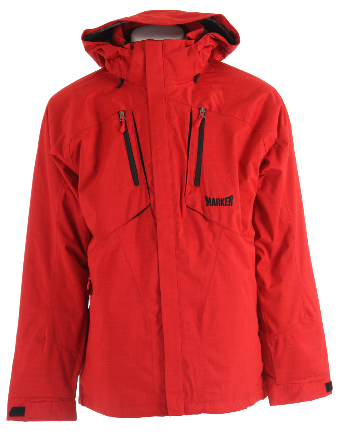 "Ski Key Features of the Marker Cornice 3-In-1 Ski Jacket: 5,000mm Waterproof 5,000g Breathability 100% polyester, tonal texture, 5,000mm breathability/waterproofness, windproof Embossed taffeta lining, brushed tricot, power mesh CB Length 32"" Adjustable cuffs with Velcro closure Articulated elbows Brushed tricot lined pockets Center front draft flap Chest pocket Fully seam sealed Hand pockets Media pocket One handed drawcord closure at bottom hem Raglan sleeve Underarm vents with YKK Zippers & power mesh backing YKK Zippers Zip off storm hood - $223.95"