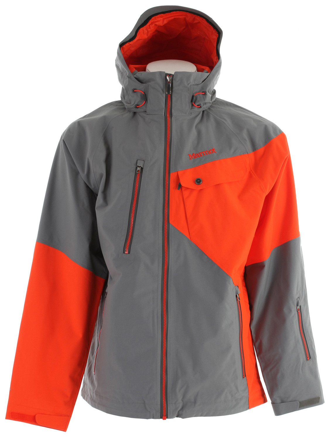 "Ski Key Features of the Marmot Mantra Ski Jacket: Weight 2lb 1.2oz (941g) Materials MemBrain 2L 100% Nylon 5.0 oz/yd Marmot MemBrain Waterproof/Breathable Fabric 100% seam taped 2-layer construction Zip-off Storm Hood with Laminated Brim Exposed Water Resistant Center Front Zipper Chest Pocket with Water-Resistant Zipper Flapped Chest Pockets Handwarmer Pockets with Water Resistant Zipper Waist Pass Pocket with Water Resistant Zip PitZips Zip-off Powder Skirt Zippered Sunglass Pocket Mesh Gear Pocket Mesh Goggle Pocket Interior Media Pocket HD Brushed Tricot Collar and Shoulder Lining Elastic Draw Cord Hem DriClime Lined Collar and Chin Guard Adjustable Velcro Cuff Angel-Wing Movement 30"" Center Back Length for Size Medium - $194.95"