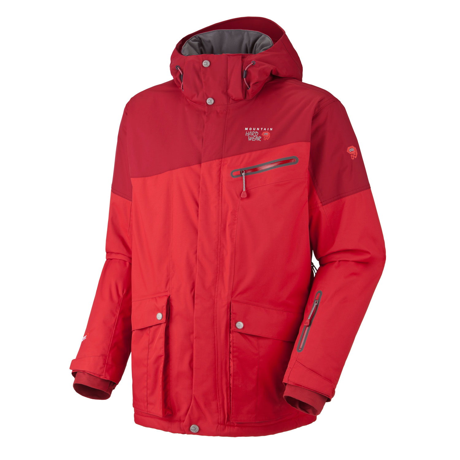 "Ski Break through the pack in the Mountain Hardwear Automator Ski Jacket! For a jacket that is heavy enough to hold up to the harshest conditions, the Mountain Hardwear Automator Ski Jacket is still light enough to easily get around in. Coming in at just over 2 pounds, the Downhill twill 2L shell keeps the water and chilly air out, and the DryQ Elite insulation means you can stay nice and warm without breaking out in a sweat. The Automator Ski Jacket also features an adjustable hood, adjustable cuffs, and even a stretch powder skirt for custom fit and protection.  Avg. weight: 2 lb 10 oz; 1.18kg    Center back length: 33""    Fabric: body: Downhill Twill 2L (100% nylon  insulation: Thermic Micro    DryQ Elite: 100% waterproof, most breathable, air-permeable, no-wait comfort    Removable zip-off hood    Removable, adjustable, stretch powder skirt    Pit zips for additional ventilation    Soft, ""Butter jersey"" cuffs    Plenty of interior pockets for all your gear    One-handed hood and hem drawcords for quick adjustments    Zip hand-warmer pockets    Micro-Chamois - lined chin guard eliminates zipper chafe - $164.95"