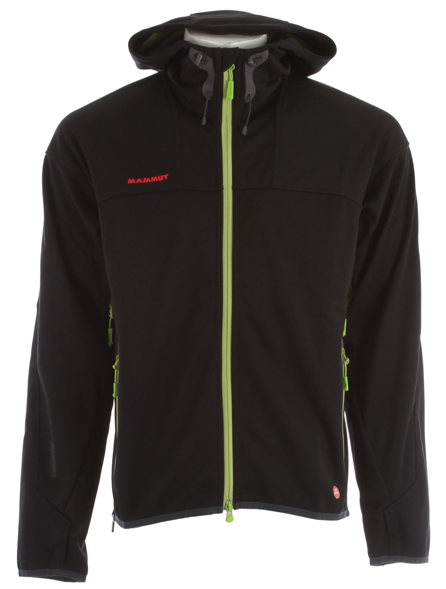 Ski Key Features of the Mammut Ultimate Hoody Softshell Ski Jacket: GORE® WINDSTOPPER® Soft Shell 3-Layer Face material: 100% polyester Membrane: 100% Polytetrafluorethylene; Backing: 100% Polyester Enhanced GORE® WINDSTOPPER® material with very strong backing: wind resistant and breathable 2-way front zip Underarm ventilation through 2-way zip 2 hand pockets with zip 1 inside pocket with zip Articulated elbows Thumb loops Highly elastic With membrane - $194.95
