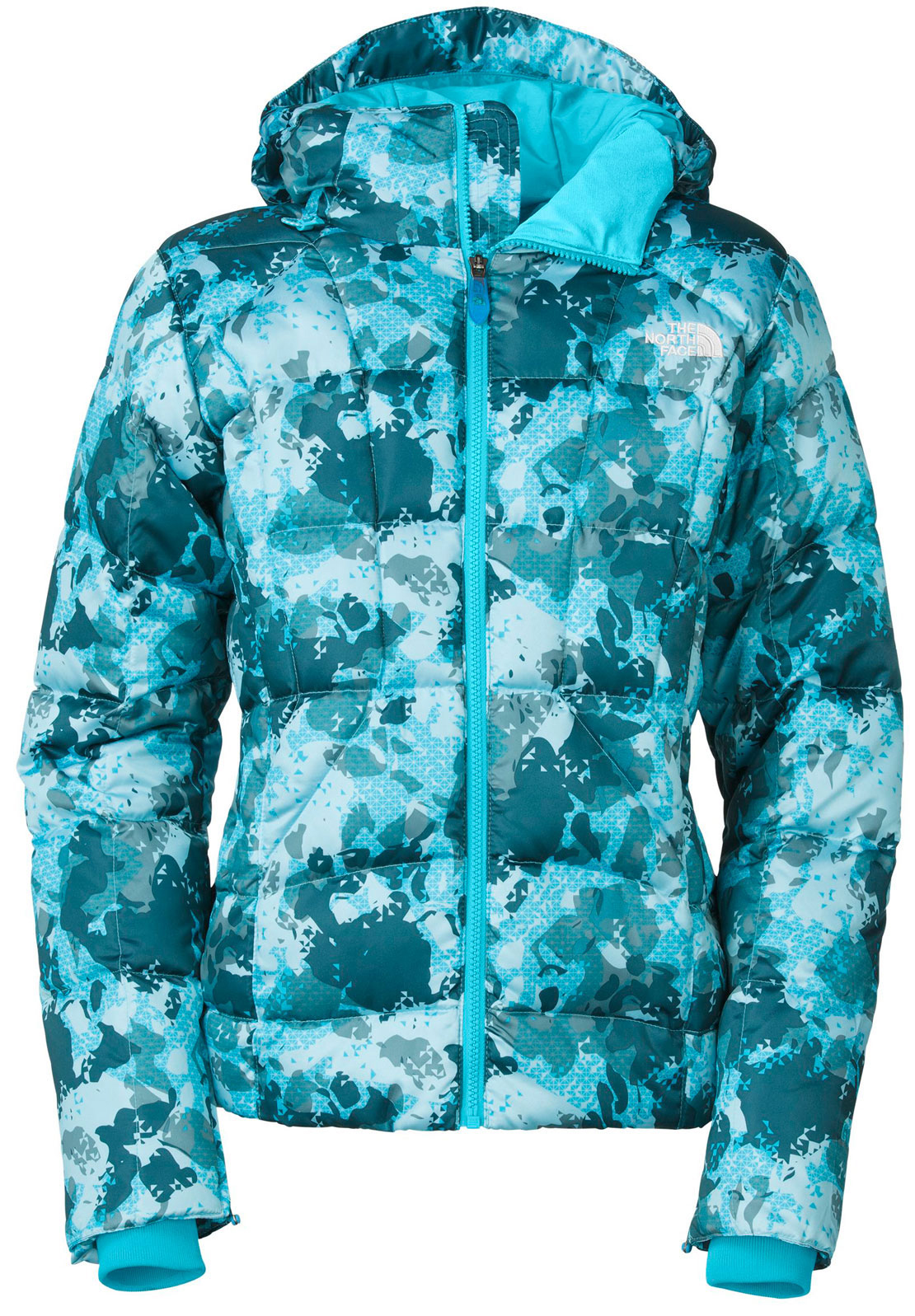 "Ski Quilted down insulation in an elegant jacket built for optimal warmth; with an eye-catching camo print and recycled taffeta lining that slides easily over layers.Key Features of The North Face Destiny Down Novelty Ski Jacket: Avg Weight: 863 g (30.44 oz) Center back: 24"" Fabric: shell: 30D 45 g/m2 floral print nylon twill Lining: recycled taffeta Insulation: 550 fill down Water-resistant, breathable Adjustable fully featured fixed hood Handwarmer zip pockets Internal media security pocket Internal goggle pocket Zip sleeve cuff with gussets Internal ribbed cuffs Powder skirt Adjustable hem system Goggle cloth on right pocket - $173.95"