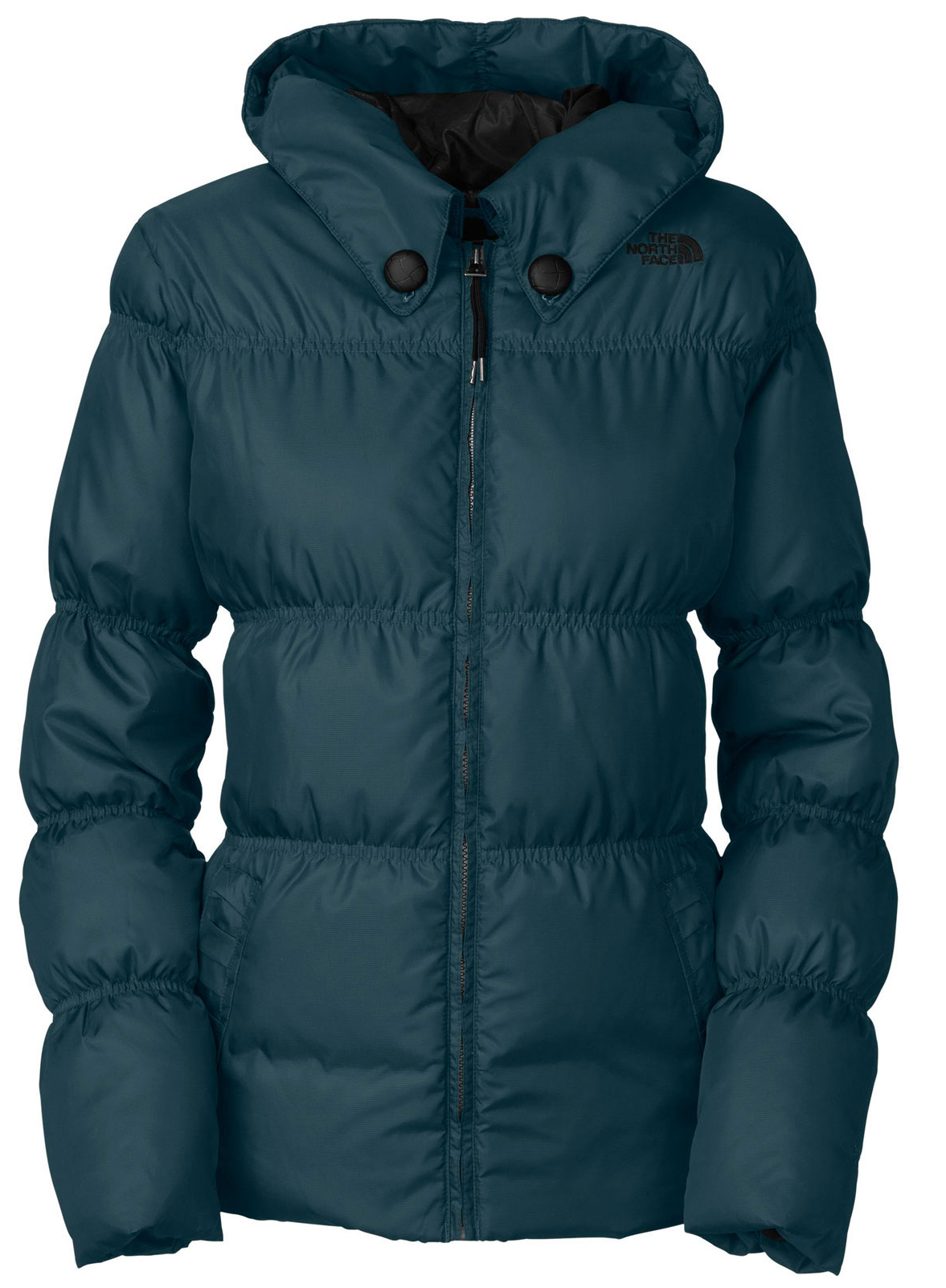 "Ski A street-styled, lightweight down jacket designed for sunny, spring-day ripping. Key Features of The North Face Totally Down Ski Jacket: Avg Weight: 700 g (24.69 oz) Center back: 26"" Fabric: shell: mini-ripstop taffeta Lining: taffeta Insulation: 550 fill down Water-resistant, breathable Adjustable fixed hood Handwarmer zip pockets Internal media security pocket Snap-back powder skirt with elastic gripper Adjustable hem system - $160.95"