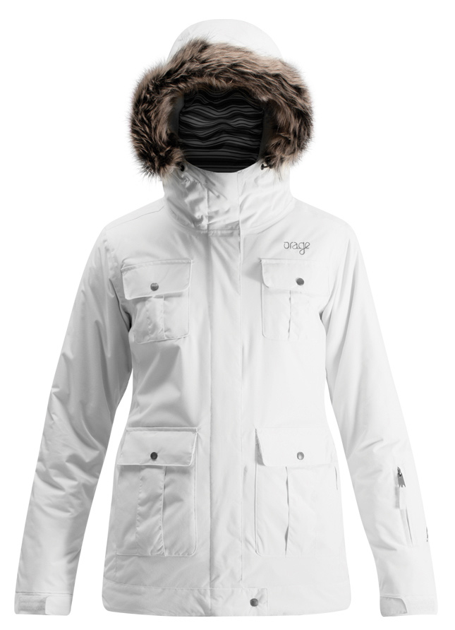 Ski A touch of urban flair makes this jacket a true head-turnerKey Features of the Orage Amanda Ski Jacket: 5,000mm Waterproof 5,000g Breathability Prime 05 2 Ply: 100% Nylon, ECO DWR 80/10, 151 g/m2 Prime 05: From the fall to the spring, PRIME05™ fabrics provide just the right level of waterproofing for almost any day outdoors Removable Stretch powderskirt Original Fit: Orage's classic ski cut Perfect mix of volume, shape & structure. Pit zips Printed lining with fleece panel inserts Removable fake fur Polar hand gaiters Brushed hand pockets MP3 Pocket - $149.95