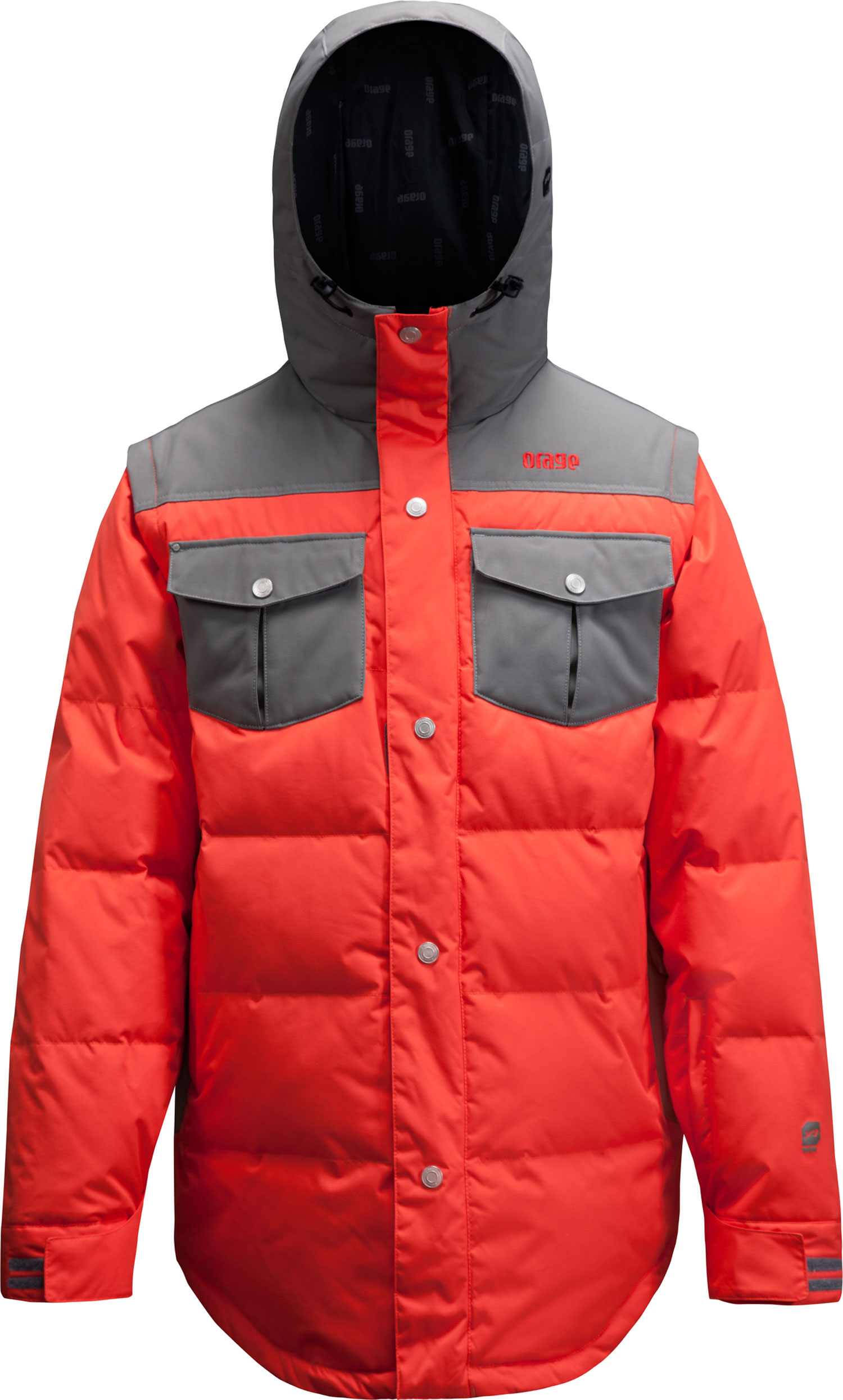Ski Key Features of the Orage B-Dog Jacket: Prime 10: Canvas 2 ply, 100% Nylon, ECO DWR 80/10, 185g/185m2 Prime 10: Nylon Twill 2 ply, 100% Nylon, ECO DWR 80/10, 160g/m2 Powder skirt Antimicrobial hand cuffs Printed lining with fleece panel insert Down (80% Duck/50% Synthetic) Removable sleeves Playing cards included - $223.95