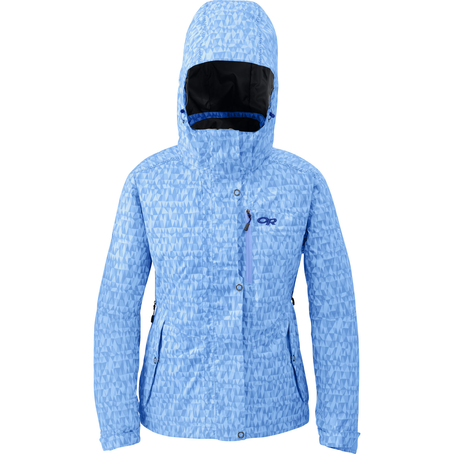 Ski The women's Igneo Jacket provides weatherproof insulation for sidecountry skiing in cold winter conditions; breathability and venting aid when body temperature escalates on the boot pack to the top.Key Features of the Outdoor Research Igneo Ski Jacket: 100% Nylon, 2-layer 70D PerTex Shield fabric; 100% Polyester reversed brushed tricot lining Waterproof Breathable Thermore insulation; 60g front/ arms, 40g back/ under arms Integrated RECCO reflector Removable powder skirt with LockDown technology Fully seam taped Adjustable, removable hood fits over a helmet Double-sliding pit zippers for ventilation Inner lift pass pocket with drawcord key-clip attachment ThumbDrive hook/ loop cuff closures (M) 31.1 oz/ 881g Relaxed Fit Center Back Length: 27in/ 69cm - $210.95