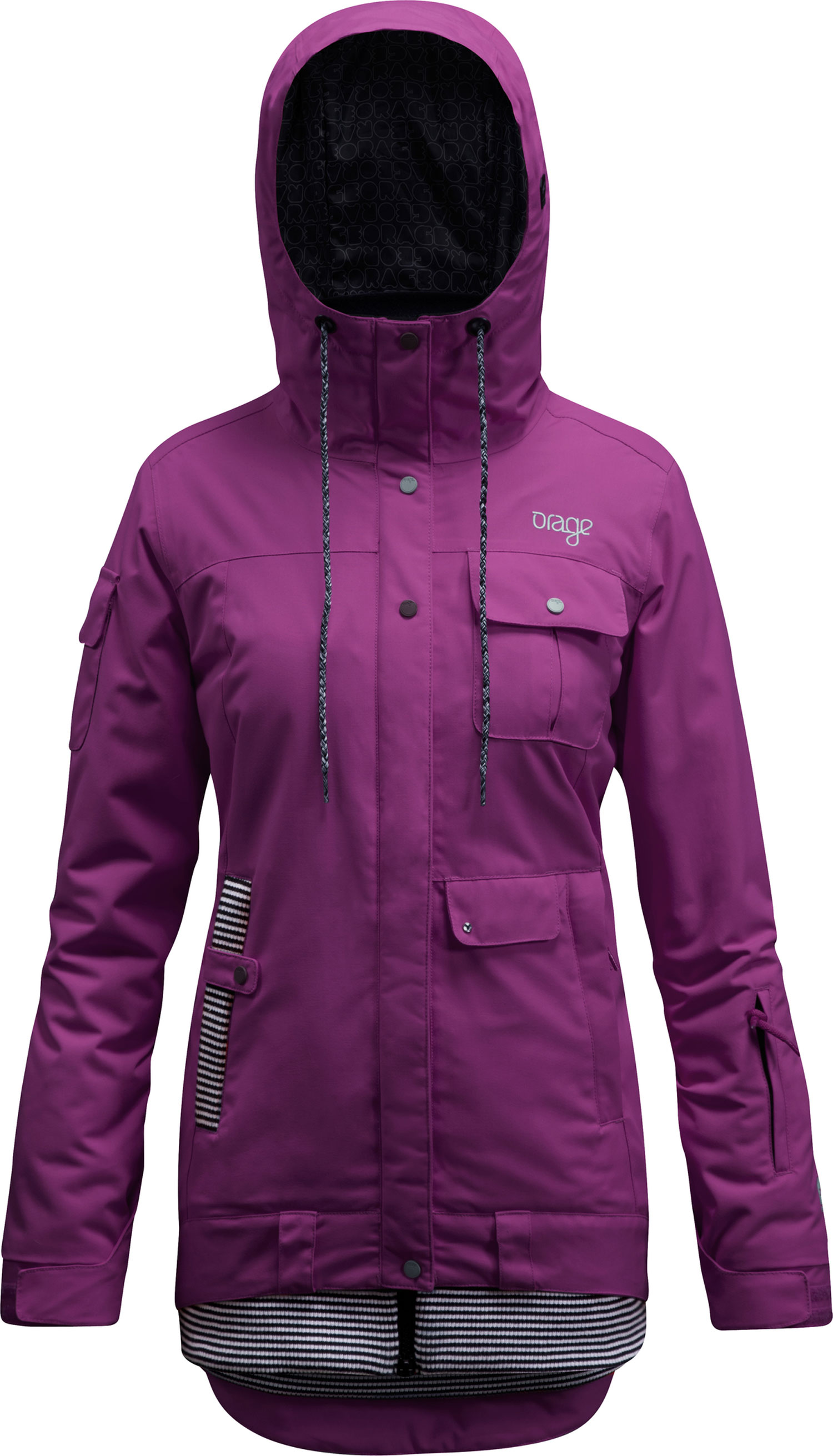 Ski Key Features of the Orage Kendra Jacket: Prime 10: Canvas 2 ply 100% Nylon, ECO DWR80/10, 185g/m2 Strategically seam sealed Pit zips Antimicrobial hand cuffs Printed lining with fleece panel insert - $209.95