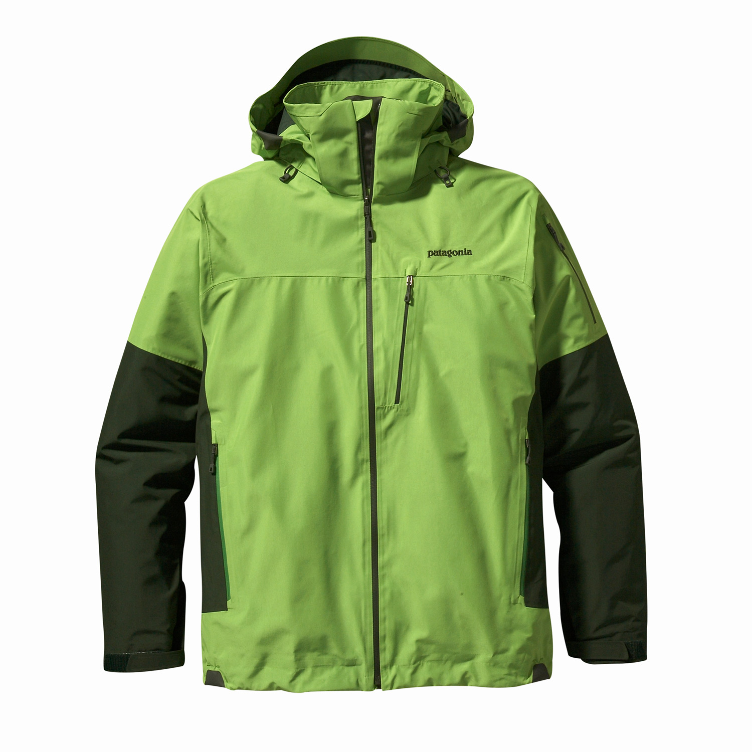Ski The Patagonia Powder Bowl jacket is Patagonia's premium snowsports jacket for the user who plans to ride all day. The shell jacket, engineered with GORE-TEX   Performance Shell uses the most durable nylon face fabrics available. The 2-layer   construction uses a GORE-TEX   membrane, which is bonded to the outer material and protected on the inside by a separate lining for better wear, greater comfort, and waterproof/breathable protectionKey Features of the Patagonia Powder Bowl Ski Jacket: Durable 2-layer polyester shell with waterproof/breathable GORE-TEX  Performance Shell and a Deluge DWR (durable water repellent  finish, keeps you dry during a heavy snowstorm; mesh lining wicks away moisture Removable, helmet-compatible, 2-way-adjustable hood with laminated visor for optimal visibility in bad conditions; tall collar protects neck and face, even with the hood down Touch Point System embeds cord locks in the hood and hem to offer quick adjustability and seal out snow (patented  Slim Zip installation with watertight coated zippers for reduced zipper bulk and weight Pit zips quickly release heat; pleated gusset comfortably secures cuff, over or under gloves, with less bulk Powder skirt is adjustable and fully featured; webbing loops connect to any Patagonia  Ski/Snowboard Pants to keep the snow out and the skirt down Pockets: Two handwarmers, one chest, one bicep, two interior drop-ins and one interior zippered pocket with key clip; includes secure media pocket with cable routing Regular fit (36.3 oz  1029 g Fabric: Shell: 2-layer, 4.3-oz 150-denier 100% polyester with waterproof/breathable GORE-TEX Performance Shell and a Deluge DWR finish. Lining: Torso: 100% brushed polyester mesh; sleeves: 100% polyester mesh; powder skirt and hood: 2-oz 100% polyester plain weave - $219.95
