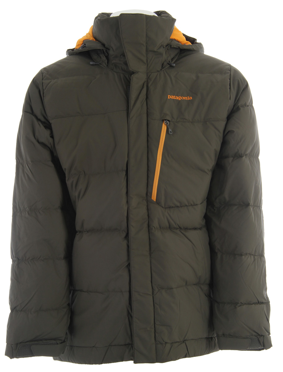 Ski For warmth in the coldest conditions, the new Rubicon Down Jacket is filled with 700-fill-power European goose down insulation in a durable polyester shell that's highly water-resistant.Key Features of the Patagonia Rubicon Down Ski Jacket: Relaxed fit fabric: Shell: 1.75-oz 40-denier 100% polyester ripstop coated with PU and a Deluge DWR (durable water repellent) finish. Lining and powder skirt: 2-oz 100% polyester plain weave. Insulation: 700-fill-power premium European goose down Lightweight, durable polyester ripstop fabric is windproof and highly water resistant; 700-fill-power goose down insulation is warm and highly compressible Helmet-compatible, 2-way-adjustable removable hood with laminated visor for optimal visibility in bad conditions. Soft microfleece panels placed in back of neck and chin are soft next to skin; high collar seals out cold air and snow Pit zips quickly release heat; articulated arms improve mobility Removable powder skirt, with snap to secure webbing loop at center back, keeps the snow out and skirt down - and connects to any Patagonia Snow pants Pockets: Two handwarmers, two chest (one with secure media pocket and cable routing), one internal stash - all zip secured; two internal drop-in for goggles and gloves Improved adjustable low-profile cuff design; hem can cinch and keep the cold out; drawcord exits into handwarmer pockets for easy adjustments - $278.95