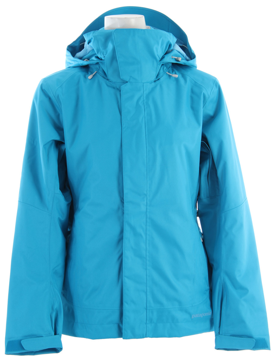 Ski For staying dry and warm in single-digit temperatures, the redesigned Insulated Snowbelle Jacket has new styling, features an improved fit and durable 2-layer polyester fabric, with a waterproof/breathable H2No barrier and 100-g Thermogreen insulation. fabric: Shell: 2-layer, 5-oz 150-denier 100% polyester herringbone weave with a waterproof/breathable H2No barrier and a Deluge DWR (durable water repellent) finish. Lining: 2-oz 100% polyester plain weave. Key Features of the Patagonia Insulated Snowbelle Ski Jacket: Regular Fit Insulation: 60-g Thermogreen 100% polyester (90% recycled) Soft and durable 2-layer polyester herringbone weave fabric, with a waterproof/breathable H2No barrier provides storm protection 100-g Thermogreen insulation in the body, 60-g in the hood and sleeves ensures warmth with less bulk Helmet-compatible, 2-way-adjustable, removable hood with laminated visor for optimal visibility in bad conditions. Soft microfleece panels placed in back of neck and chin are soft next to skin; high collar seals out cold air and snow Pit zips quickly release heat; articulated arms improve mobility Snow-seal powder skirt, with snap-secure webbing loop at center back, keeps the snow out and the skirt down and connects to any Patagonia Snow pants Pockets: Two handwarmers, one chest (with media pocket and cable routing) and one internal stash pocket - all zip secure; two internal drop-in pockets for goggles and gloves Improved adjustable low profile cuff design; hem can cinch on extra chilly days to keep the cold out; drawcord exits into handwarmer pockets for easier adjustments Updated styling - $211.95