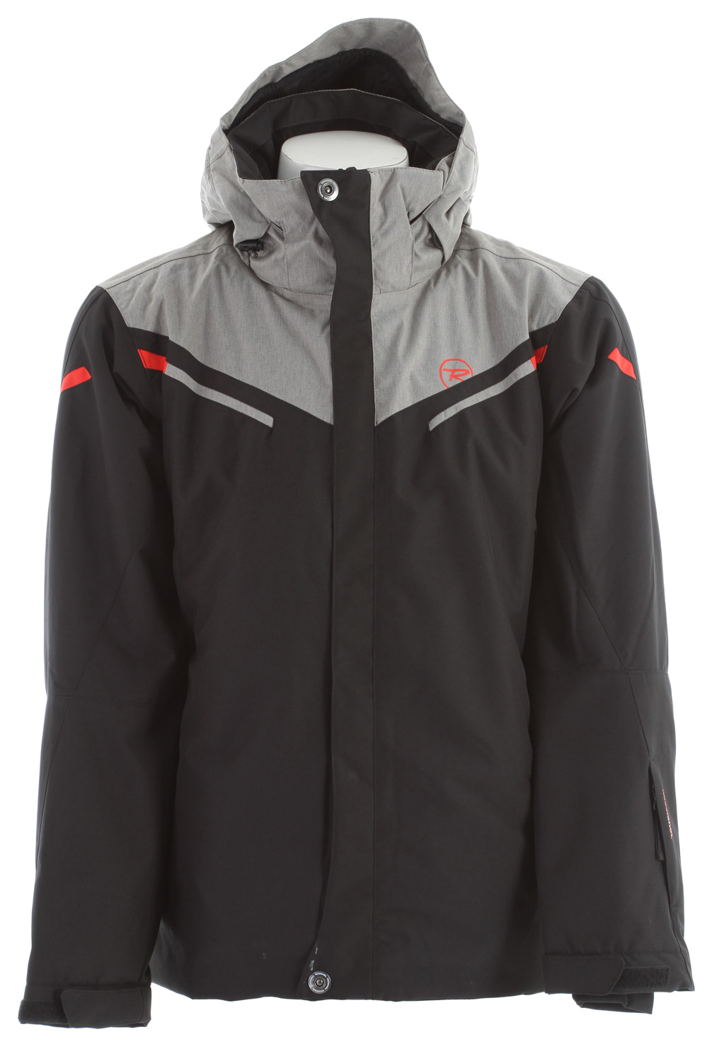 Ski Key Features of the Rossignol Ride Ski Jacket: 10,000mm Waterproof 10,000g Breathability 100% polyester Weight: 158g/m2 Finish: Lamination 2L DWR Lining: Body 80g/Sleeves 60g - Polyester Removable hood Fixed powder skirt with snaps adjustment Lycra cuffs Vent zip on side Elastic cord on bottom Stored pockets Key holder Goggle wiper Ski pass pocket - $216.95
