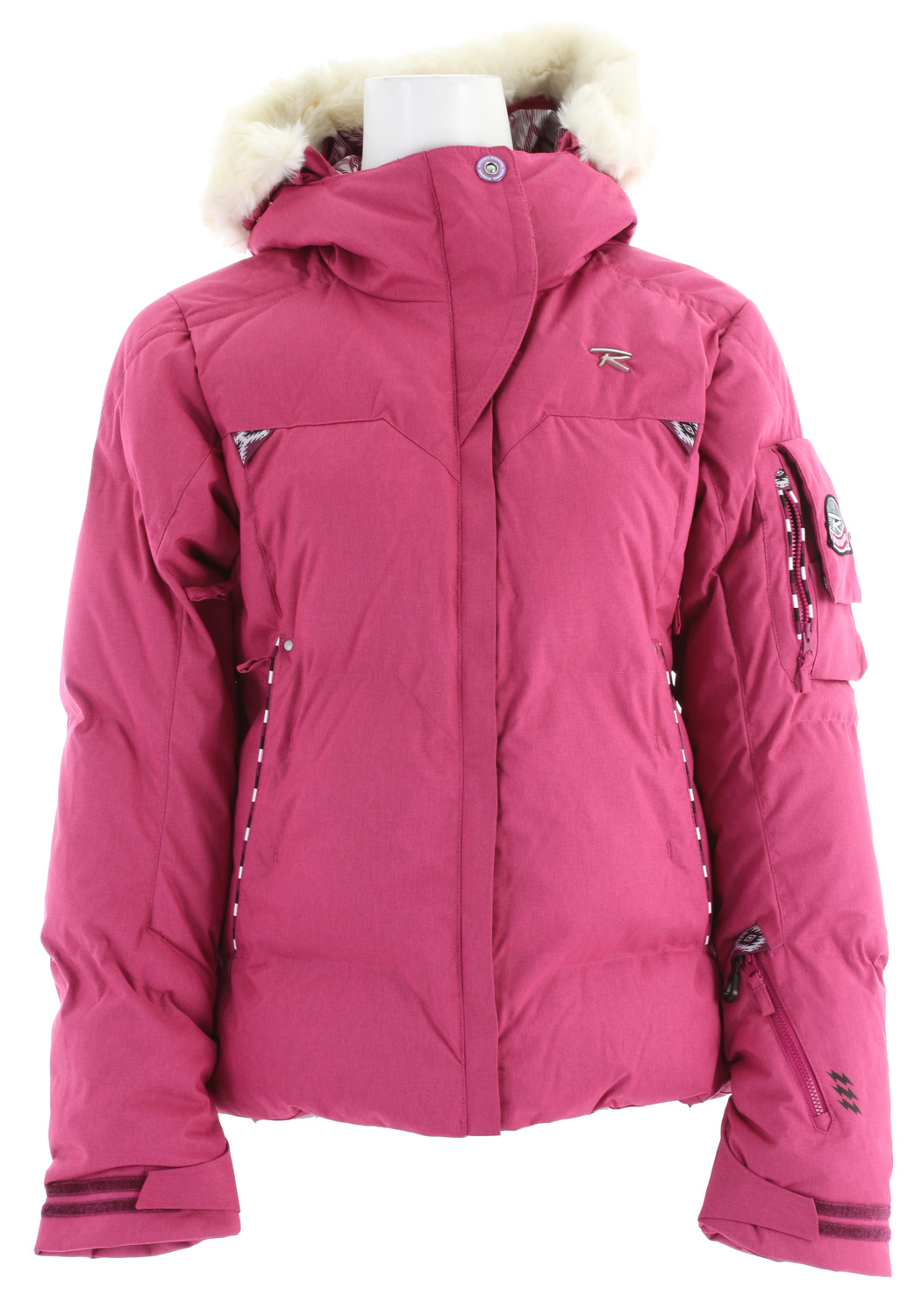 Ski Key Features of the Rossignol Sky Polydown Ski Jacket: 20,000mm Waterproof 20,000gm2 Breathable Heather Weave 100% polyester Weight: 160g/ m2 Finish: Lamination 2L DWR Lining: Polydown Fixed hood - removable fake fur around the hood Removable powder skirt Aligaiter system to attach the jacket to the pant Lycra cuffs with thumb loop Vent zip Elastic cord on bottom Stored pockets Key holder Goggle wiper Whistle in sleeve pocket Ski pass pocket 63cm/ 24.8in center back length - $238.95