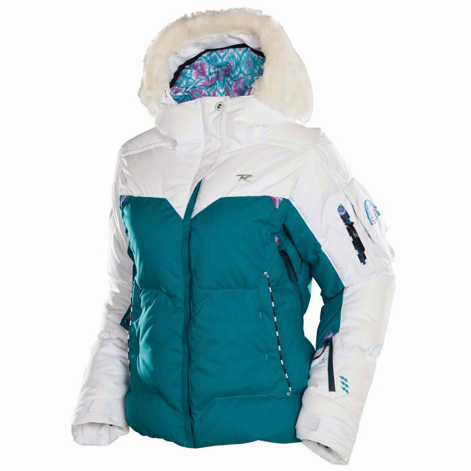 Ski Key Features of the Rossignol Sky Polydown Ski Jacket: 20,000mm Waterproof 20,000gm2 Breathable Heather Weave 100% polyester Weight: 160g/m2 Finish: Lamination 2L DWR Lining: Polydown Fixed hood - removable fake fur around the hood Removable powder skirt Aligaiter system to attach the jacket to the pant Lycra cuffs with thumb loop Vent zip Elastic cord on bottom Stored pockets Key holder Goggle wiper Whistle in sleeve pocket Ski pass pocket 63cm/24.8in center back length - $246.95