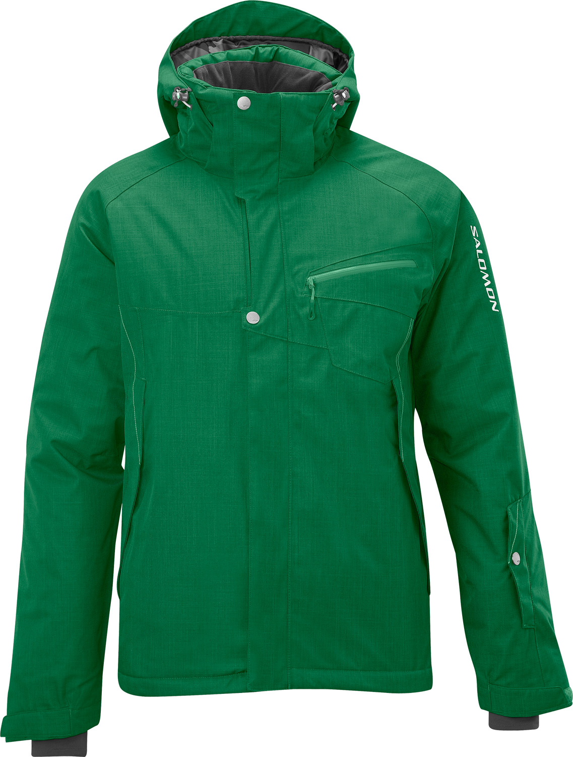 "Ski Equally cool on or off the hill, the denim-type fabric of this jacket performs in any weather.Key Features of the Salomon Fantasy II Ski Jacket: 10,000mm Waterproof 10,000g Breathability actiLOFT insulation 100gr/m Waterproof & breathable fabrics to ensure great comfort for outdoor activities. climaPRO ""natural"" Herringbone 2L 100% taped Removable zip-off hood with 3D adjustment Air vent system with mesh backing Powderskirt Snap-in connection with pant Inner stash pocket Lycra cuffs Left arm lift pass pocket FIT: Relax Weight 1370 COMPOSITION PADDING: PES 100% BACK LINING: PES 100% BODY LINING: PES 100% BODY: PES 100% - $186.95"