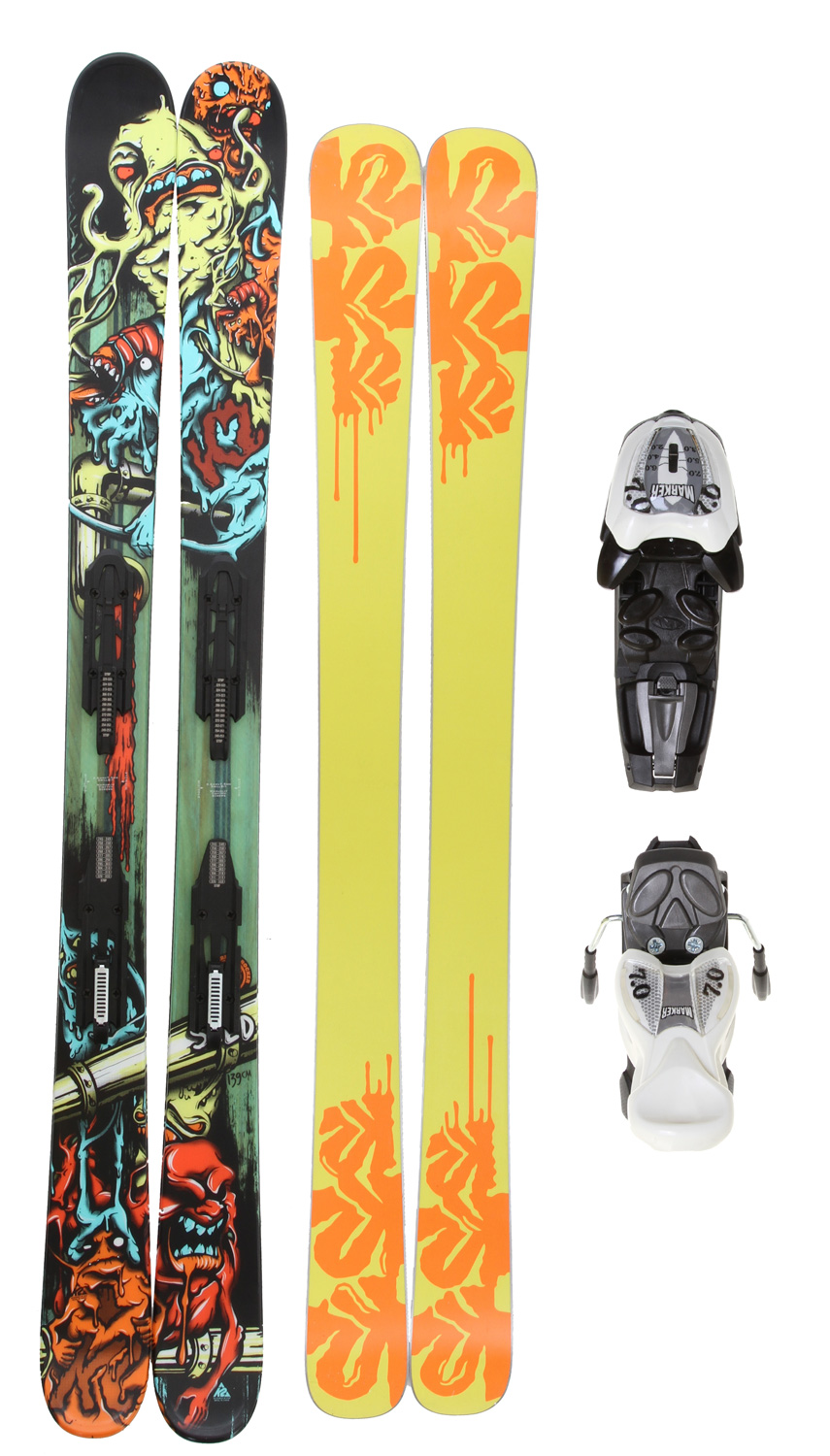Ski This ski comes in at 85mm underfoot, giving the junior ripper who skis the whole mountain a chance to blast through adverse conditions and rage through the good stuff. The Bad Seed's All-Terrain Rocker makes it versatile enough for any condition, on or off piste. Plus, it can handle the park if your kid likes the taste of big air. This is truly an all-around ski for the all-around mini shredder. Key Features of the K2 Bad Seed Skis w/ Fastrack2 7.0 Bindings: Built with All-Terrain Rocker Swap Base Wood Core Triaxial braiding PERFORMANCE: Powder: 50%, Park: 50% CONSTRUCTION: Cap-Triaxial Braided Aspen/Paulownia RADIUS: 12m @ 139/ Directional Taper BINDING OPTIONS: FasTrack2 7.0 Tip/Waist/Tail Width: 113/85/104 - $343.95