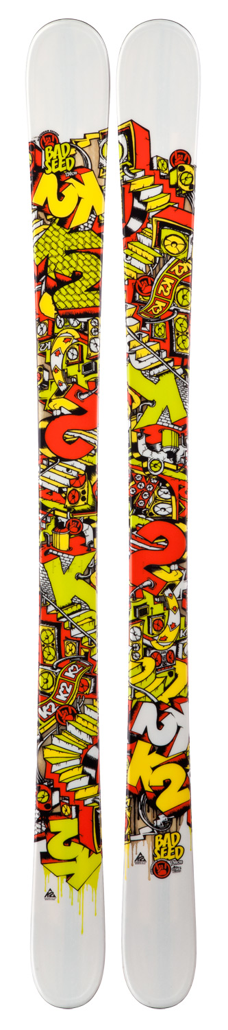 Ski This all-mountain kid's ski performs admirably through adverse conditions thanks to its 85mm waist and All-Terrain Rocker. Whether your grom spends time on-piste, in the park, or slashing powder in the trees, this all-around ski will keep the youngsters stoked all day long. Key Features of the K2 Bad Seed Skis w/ Marker Fastrak2 7.0 Bindings: Dimensions: 113/85/104 All-Terain Rocker Tip/Tail Powder: 50% Park: 50% Radius: 12m@139cm Triaxial Braid Cap Aspen/Paulownia Core Triaxial Braid Wood Core - $358.95