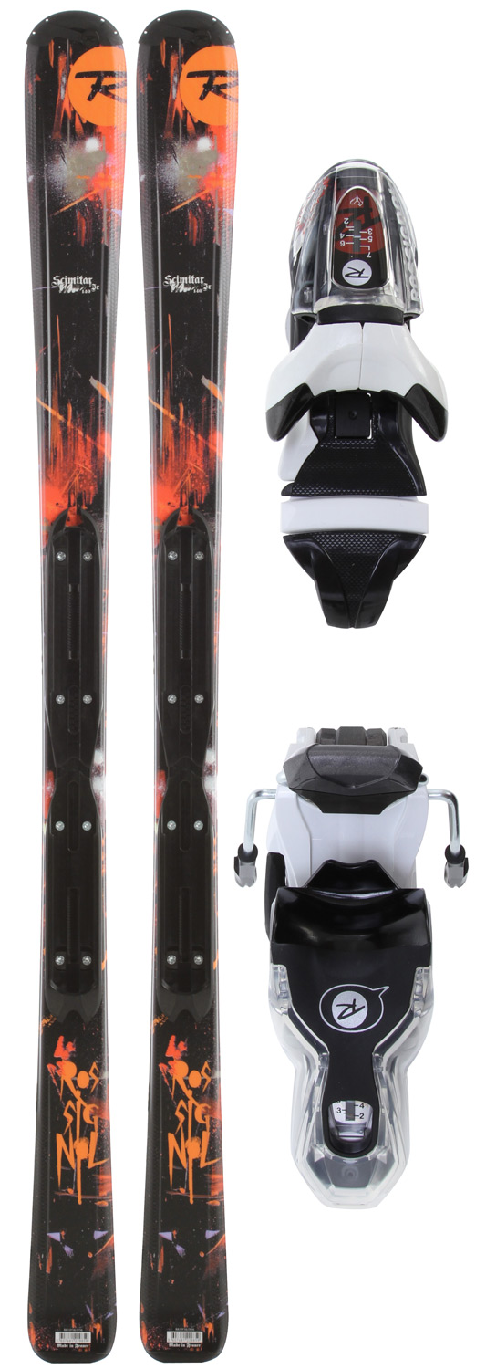 Ski Key Features of the Rossignol Scimitar Jr Skis w/ Xelium Jr 70S: SIDECUT : 129-99-122 RADIUS : 21.3 m (181) SIZES : 167-174-181 TECH : SPIN TURN ROCKER ROCKER : 100% / FULL CAMBER : 100% / REVERSED STRUCTURE : MINI CAP SANDWICH CORE : WOOD - MICROCELL / FIBERGLASS - $174.95