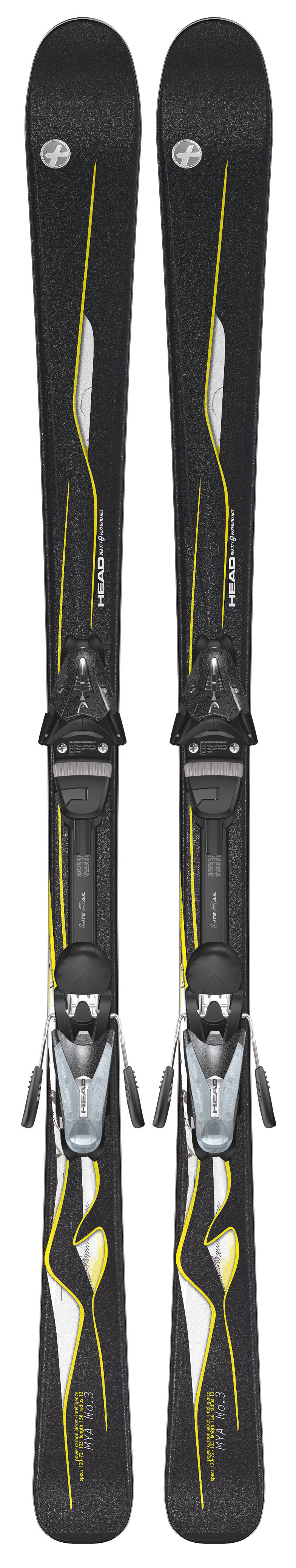 Ski The Head Mya No. 3 Skis with Mya LR Bindings is a great package for beginner to intermediate skiers. These skis are made from a sintered wood core for smoothness and stability. Ideal for a beginning skier learning the basics and fundamentals of skiing, there is no need to worry too much about breaking these skis when going down the mountain.  Lengths: 149/156/163    Dimensions: 120/72/105 @ length 156    Radius: 12.0 @ length 156    Intelligence Technology    Power Carbon Jacket    Transparent UHM Base    LiteRail    HEAD MYA 9 LR    DIN 2.5-9    SL Lite Toe with TRP System    Full Diagonal    ABS - Anti Blocking System    SL Lite Heel    Dura-Coating - $299.95