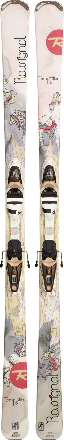 Ski As the hottest new name among the new breed of all-mountain performance skis, Temptation features all of the latest technologies and designs to deliver more on-trail and off-trail performance, greater versatility and more maneuverability to women of all levels than any other ski ever. Temptation's unique combination of AutoTurn Rocker, Extended Sidecut, Cascade Tip and wider waist widths delivers easier turning and carving on groomers and in powder, more stability in all conditions, and an enhanced ski experience beyond compare. Never before has an all-mountain ski performed so well and so easily in all terrain types and in any conditions. Women skiers demand more accessible, more versatile, easier high performance. For women of all levels, Temptation delivers the ultimate ski experience.Key Features of the Rossignol Temptation 78 Wtpi2 Skis w/ Saphir 110 L Bindings: Extended Sidecut: Sidecut continues beyond contact point where tip and tail rocker start as speeds and edge angles increase more sidecut is engaged for powerful full-length edge grip. At lower speeds and edge angles sidecut is less engaged for more maneuverability and ease AutoTurn Rocker: 70% traditional, high camber underfoot while remaining 30% of the tip and tail feature low rocker. Camber underfoot delivers power, energy, and edge grip for groomed run performance. Subtle rocker tip and tail delivers easy steering and effortless speed control for versatility in any terrain or snow type Cascade Tip: Varying shapes of metal and fiberglass laminates at staggered lengths make the tip lighter. Lighter tip improves swing weight providing quick and adaptable turn initiation. Unique layered shapes control tip torsion, smoothing turn initiation and improving full edge contact Women's Wide Plate: New, wider binding platform designed for wide skis (80mm +) increases leverage, enhancing power and precision. Control beam combined with Twin VaS absorbs vibrations and facilitates rebound by directing pressure to the extremities. Tool-free binding enables easy adjustment Structure: Central Sidewall Core: Wood Laminates: Carbon/Fiberglass Sidecut: 122/78/111 Radius: 15.4M @ 166 Size: 142, 150, 158, 166 System: Wtpi2/Saphir 110 L - $479.95