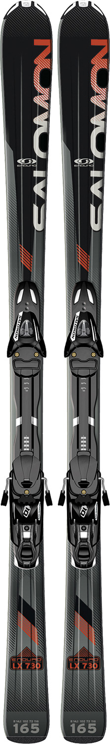 Ski Lightweight, forgiving All-Mountain ski with 73mm waist width.Key Features of the Salomon Enduro LX 730 Skis w/ L10 Bindings: Monocoque Composite L10 3D Stealth tip PULSE PAD Norm ISO: G1 norm Waist width: S Chassis (72 mm wide waist) 114/72/100 @ 151cm - $249.95