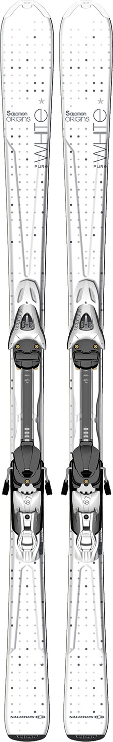 Ski All mountain comfortKey Features of the Salomon Origins Pure Skis w/ L9 Bindings B80 White: L9 Lightrak Monocoque Composite PULSE PAD Intuitive tail Shock absorbing system (Powerline W) Intuitive tail M Body (75mm wide waist) Sidecut: 123/74/103 (159cm) Radius: 9.5 (143), 10.9 (151), 12.4 (159), 14.1 (167) - $304.95
