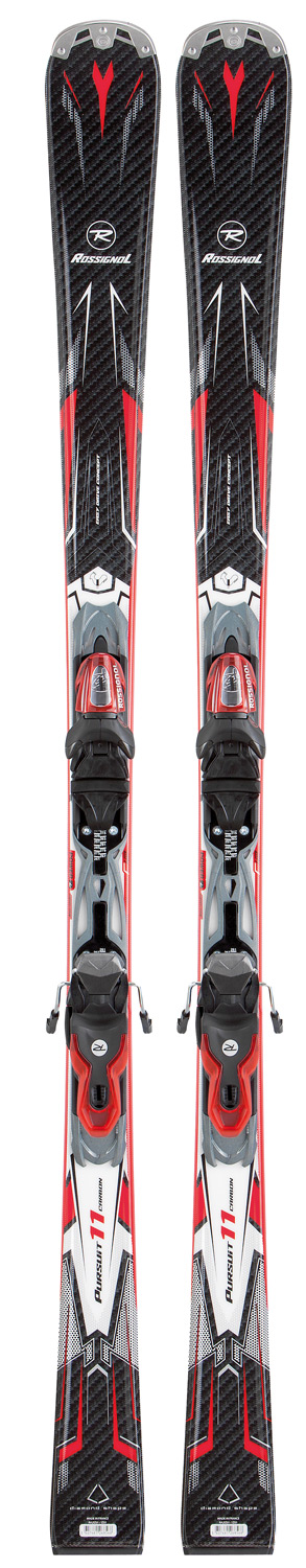 Ski Key Features of the Rossignol Pursuit 11 Carbon Xelium Skis w/ Xelium 100S: Integrated Binding: Xelium 100 Power Turn Rocker Oversize Sidecut Diamond Tip Sandwich Laminate Construction IPS Diamond (H) Technology Carbon Laminate VAS Xelium Plate 100% On-Trail SIDECUT (cm): 124/70/104 *all lengths Length (cm) / Sidecut (mm) / Radius (m) 149 / 124/70/104 / 12.4 156 / 124/70/104 / 12.4 163 / 124/70/104 / 12.4 170 / 124/70/104 / 12.4 177 / 124/70/104 / 12.4 - $279.95