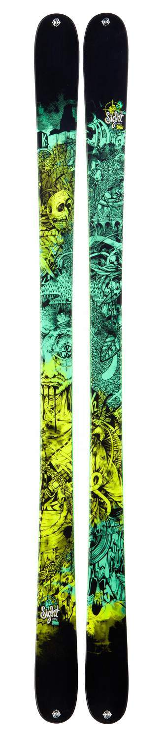 Ski Offering a stiff, stable, snappy yet affordable ski aimed at shredding anywhere on the mountain, the Sight's rock solid construction allows it to pop strong off lips while still handling off-piste snow and icy pipe walls with confidence. See the Sight as a ski that will give an open view of all skiing- from the fierce park and pipe competition scene to eye-opening urban movie segments- with the same successful outcome.Key Features of the K2 Sight Skis w/ Marker 10.0 Free Bindings: Dimensions: 118/85/109 All Terrain Rocker™ Tip/Tail All Mountain: 70% Park: 30% Radius: 20m@ 179cm Twin Tech Sidewall Triaxial Braid Aspen Core Rivets - $338.95