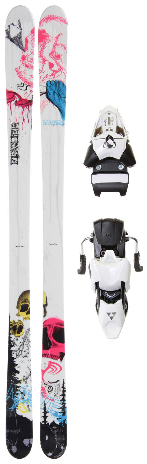 Ski Experts will love it: Twin Tip ski for park and powder, Freeski ROCKER technology and Sandwich Sidewall for boundless enjoyment and a true adventure feeling.Key Features of the Fischer Maven Skis w/ X 13 Wide Bindings: SANDWICH SIDEWALL CONSTRUCTION: Wood core combined with ABS sidewalls in a classic Sandwich Construction for balanced flex and perfect rebound. ROCKER: The shorter contact length of the ski ensures that turn initiation is easier and requires less effort. Three different types: All Mountain ROCKER, Freeski ROCKER, Tour ROCKER. RADIUS: 20 m @ 170 SIDECUT: 119 - 88 - 112 @ 170 - $473.95