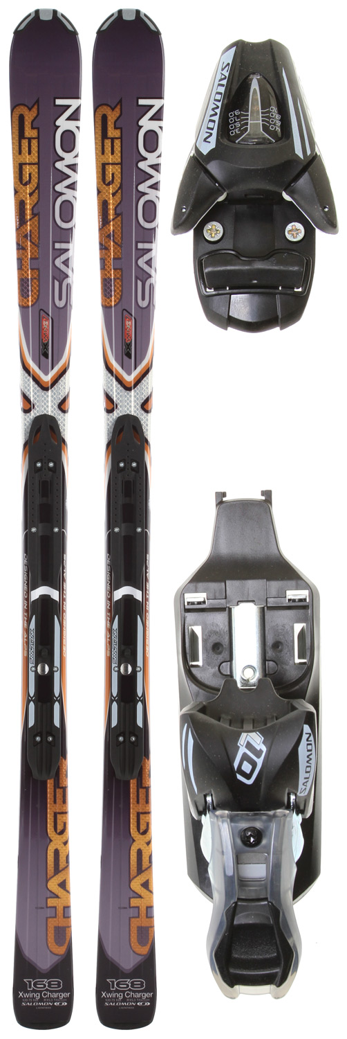 Ski Key Features of the Salomon XW Charger Skis w/ L10 Bindings: L 10 Binding Din 3-10 Light Track Mounting System Composite construction Monocoque Core Single Ti Laminate Semi Twin Tip Tail 75 mm Waist Width All Terrain Rocker - $424.95
