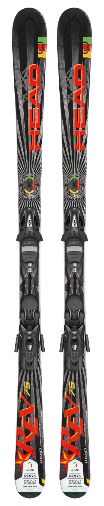 Ski Key Features of the Head Rev 75 Skis w/ Pr 11 Bindings: Lengths: 149/156/163/170/177 Dimensions: 125/75/109 @ length 170 Radius: 13.5 @ length 170 Era 3.0 Power Carbon Jacket Structured UHM C Base Power Rail PR11 Bindings: 3-11 1770g SX Toe with TRP System Full Diagonal AFS Power Rail SX Heel Dura Coating - $348.95