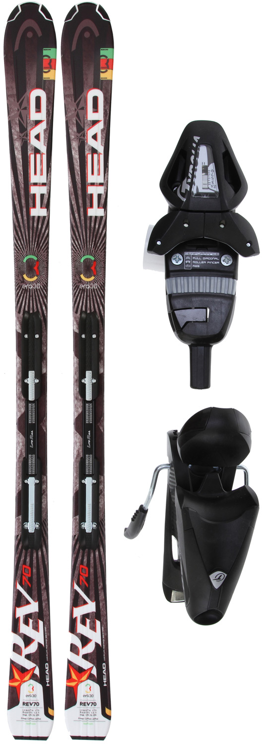 Ski Key Features of the Head Rev 70 Skis w/ LRX 9.0 Bindings: Lengths: 149/156/163/170 Dimensions: 125/70/109 @ length 170 Radius: 125.5 @ length 170 Era 3.0 Power Fiber Jacket UHM C Base LiteRail LRX 9.0 Bindings All Mountain Terrain NO LX 9.0 Bindings Features Available - $319.95