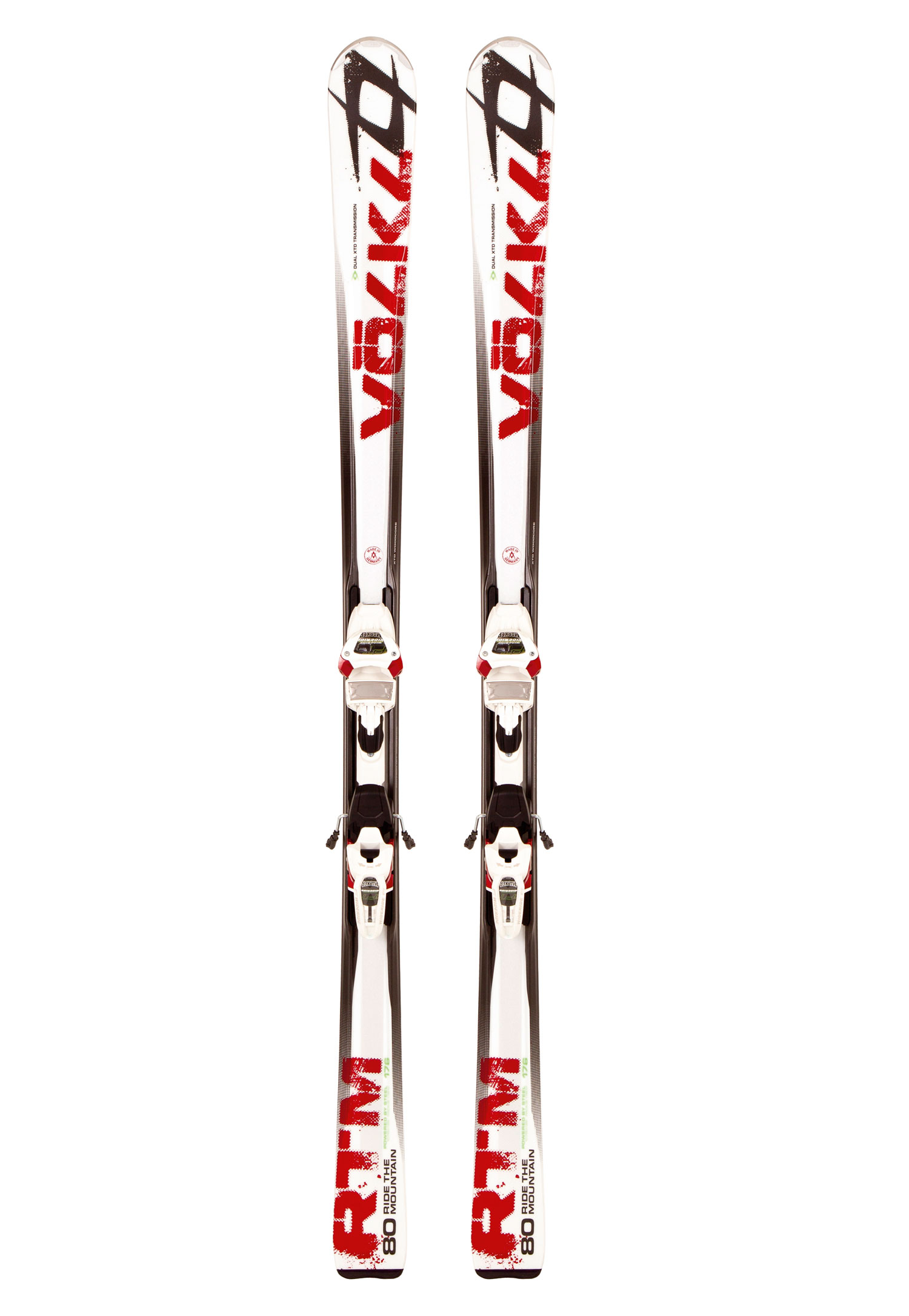Ski Introducing a completely new series from Volkl called RTM. RTM standards for Ride The Mountain. With new models from top to bottom, the RTMs represent a complete re-focus from Volkl's engineering group on the skier who wants incredible groomed snow, frontside performance PLUS an occasional foray off trail. The flagships are the new RTM 84 and RTM 80 models, each with Motion iPT Wide Ride.Key Features of the Volkl RTM 80 Skis: Full Rocker: A smooth, gradual bend from tip to tail with matching side and flex. Extended Low Profile (ELP) gives the skier all the benefits of added maneuverability in soft snow while also delivering smooth, graceful arcs on groomed terrain. How? By matching the flex and sidecut with the full rocker (long, gradual bend from tip to tail) profile, the skier gains full, uninterrupted edge contact. The more you put the ski on edge, the more effective the edge becomes. The resulting smoothness and predictability is truly uncanny. Extended Wood core Dual XTD Sidewall Powered by Titanium Radius: 15.8 (166), 16.9 (171), 18.1 (176), 19.1 (181) Key Features of the Volkl iPT Wide Ride 12.0 D Bindings: DIN/ ISO 4-12 Triple Pivot Elite Toe Inter Pivot Heel - $638.95
