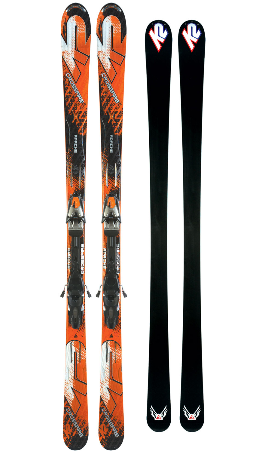 Ski The new Crossfire gains an additional 4 mm underfoot going to 74 mm giving it even more versatility in varied conditions with the same precision and accuracy on groomers that you have come to expect from this model. The Crossfire is the only ski in the Apache line that comes with ABS sidewall construction for the ultimate performance and hold while laying down arcs on firmer terrain. Key Features of the K2 Apache Crossfire Skis w/ Marker MX 12.0 Bindings: MOD Monic MOD Technology Performance: Ungroomed 40% Groomed 60% Radius: Radius: 16m@177 Construction: Metal Laminate ABS Sidewall Core: Fir/Aspen - $759.95