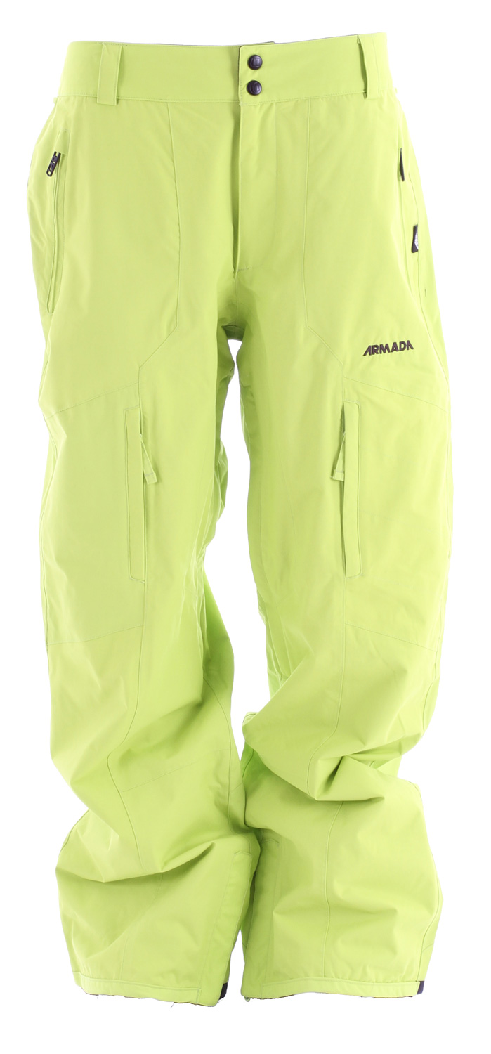 "Ski Armada Torque Ski Pants are part of the Balance series.  ""Balance"" as in the perfect balance between function and comfort.  ""Balance,"" as in the combination of protection from Armada's custom MegaRex Fabric and breathable warmth from Armada's SuperFlo Lining System.  ""Balance,"" as in the broadest range of styles and colorways for every consumer.Key Features of the Armada Torque Ski Pants:  10,000mm Waterproof  10,000g Breathability  MegaRex 2L  SuperFlo Lining System with JJ Print  100% seam sealed  YKK zippers  Adjustable inner-waistband  Gusseted crotch  No snag mesh-lined inner leg vents  Boot gaiter with lycra suspension  Boot hook  Lower boot gussets  Bemis reinforced cuff  Pant to jacket interface  Standard fit - $104.95"