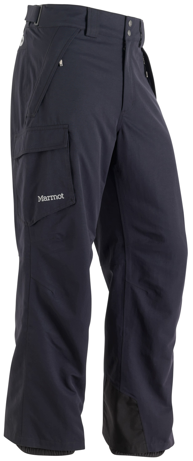 Ski Key Features of the Marmot Motion Ski Pants:  Weight 1lb 5.1oz (598g   Materials PreCip 100% Nylon 6.8 oz/yd  Lining 100% Polyester Mesh Lining 2.0 oz/yd  Marmot MemBrain Waterproof/Breathable Fabric  100% seam taped 2-layer construction  Zippered Hand Pockets  Flapped Cargo Pocket  Adjustable Snap Closure Waist with Fly Zip  Internal Gaiters with Gripper Elastic  Articulated Knees  Standard Cut - $145.00