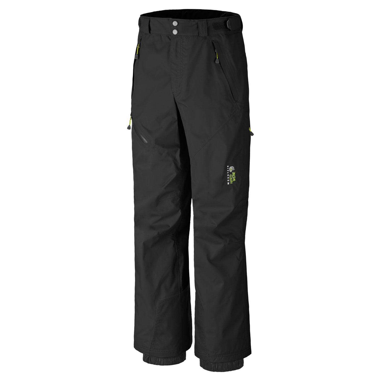 "Ski Key Features of the Mountain Hardwear Returnia Ski Pants: Avg. weight: 1 lb 3 oz; 529g Inseam: 32"" Fabric: Downhill Twill 2L (100% nylon) DryQ Elite: 100% waterproof, most breathable, air-permeable, no-wait comfort Zippered thigh vents for ventilation Fleece-lined handwarmer pockets Internal powder cuffs seal out snow Ambush edge guards at inside lower leg Micro-chamois lined adjustable waist for custom fit - $119.95"