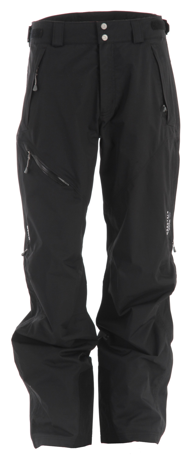 "Ski Key Features of the Mountain Hardwear Returnia Ski Pants: Avg. weight: 1 lb 3 oz; 529g Inseam: 34"" Fabric: Downhill Twill 2L (100% nylon) DryQ Elite: 100% waterproof, most breathable, air-permeable, no-wait comfort Zippered thigh vents for ventilation Fleece-lined handwarmer pockets Internal powder cuffs seal out snow Ambush edge guards at inside lower leg Micro-chamois lined adjustable waist for custom fit - $119.95"