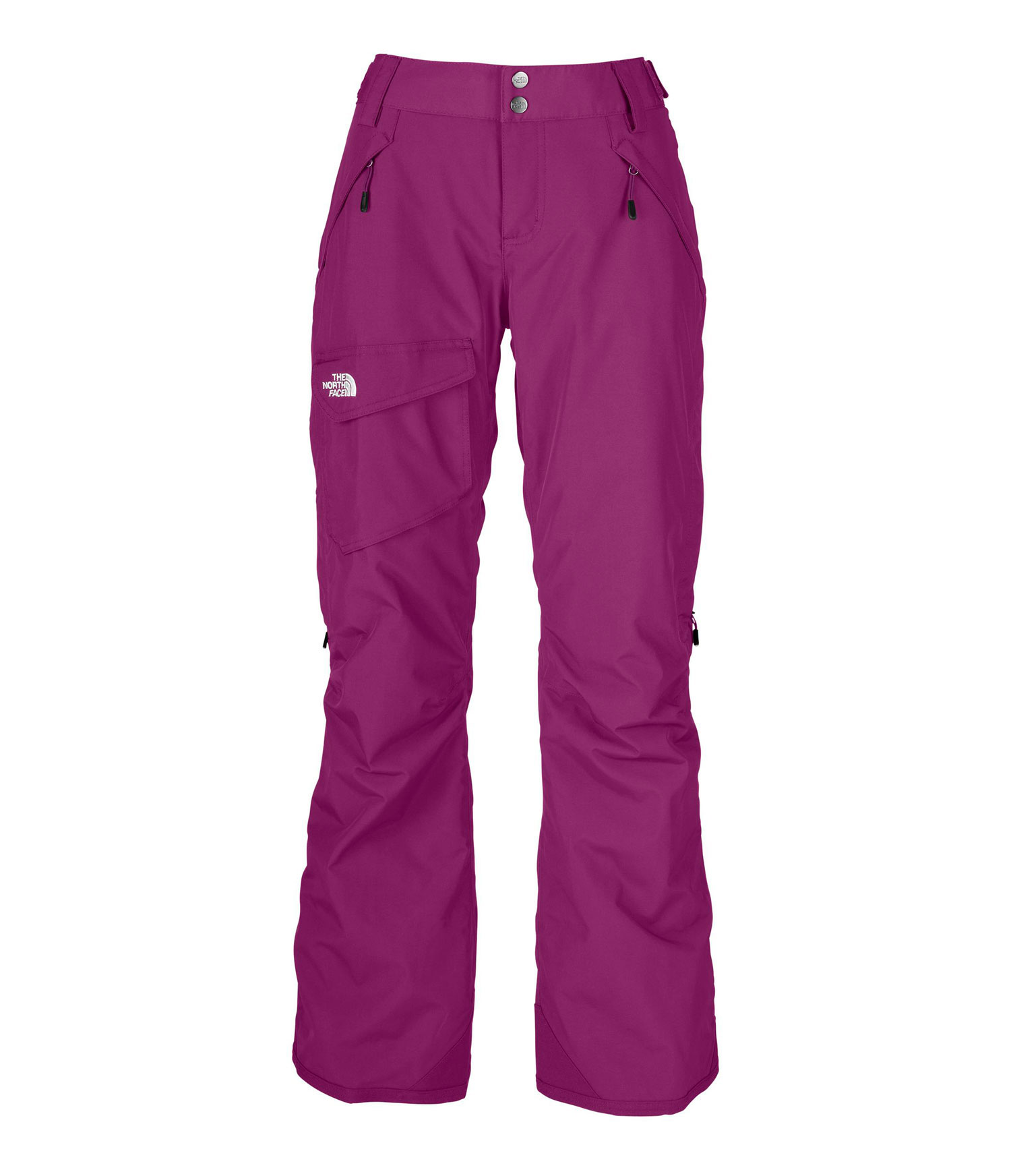 "Ski All-mountain, insulated, traditional pant made from waterproof, breathable fabric; has a feminine, low-rise cut and articulated knees for no-tug turns.Key Features of The North Face Freedom LRBC Insulated Ski Pants: Avg Weight: 750 g (26.46 oz) Inseam: 31.5"" Fabric: shell: 210D x 235D 189 g/m2 HyVent® 2L—100% nylon faille Lining: recycled taffeta Insulation: 60 g Heatseeker™ Waterproof, breathable, fully seam sealed Adjustable waist tabs Handwarmer zip pockets Exterior thigh vents with mesh gussets Cargo pocket Low-rise cut Articulated knees StretchVent ™ gaiter with gripper elastic Chimney Venting™ system Reinforced cuffs Pant-a-lock compatible - $119.95"