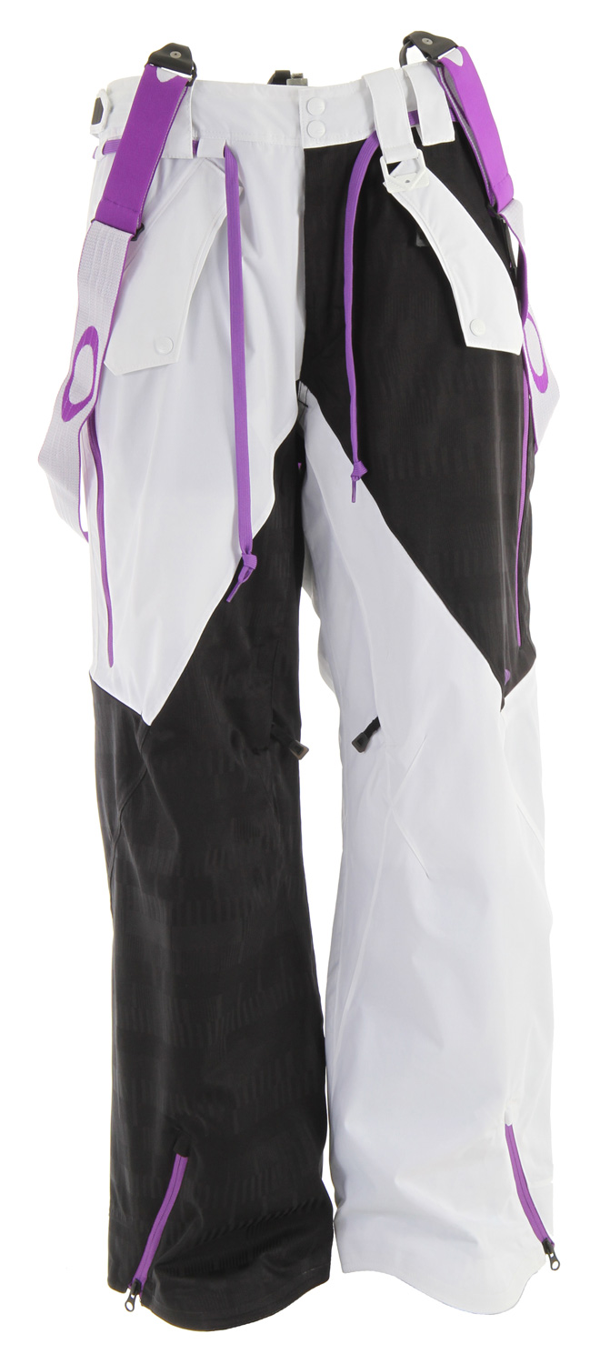 Ski Pro Rider Series two layer shell pant with front and rear pockets, side zips, engineered knee articulation, and 3D ellipse embroideries.Key Features of the Oakley Preferred Ski Pants: 20,000mm Waterproof 15,000g Breathability Fully taped seams Engineered knee articulation Attaches to snap storm skirt system of compatible jacket Removable suspender straps Adjustable waist tabs Hand pockets and back pockets Side leg zips 3-D embroidered icon Back pocket brush mesh lined reverse coil zippers Hidden snaps under belt loops for storm skirt system Custom front snap closure Diecut hook & loop w/ reverse coil zipper fly Internal boot gaitors w/ custom gripper tape & boot clip Internal waist band w/ custom logo taping Waist tab adjustment Lift ticket D-ring Main front hand pockets brush mesh lined reverse coil zipper Mesh backed inner thigh vents w/ invisible zippers Fit: Loose - $216.95