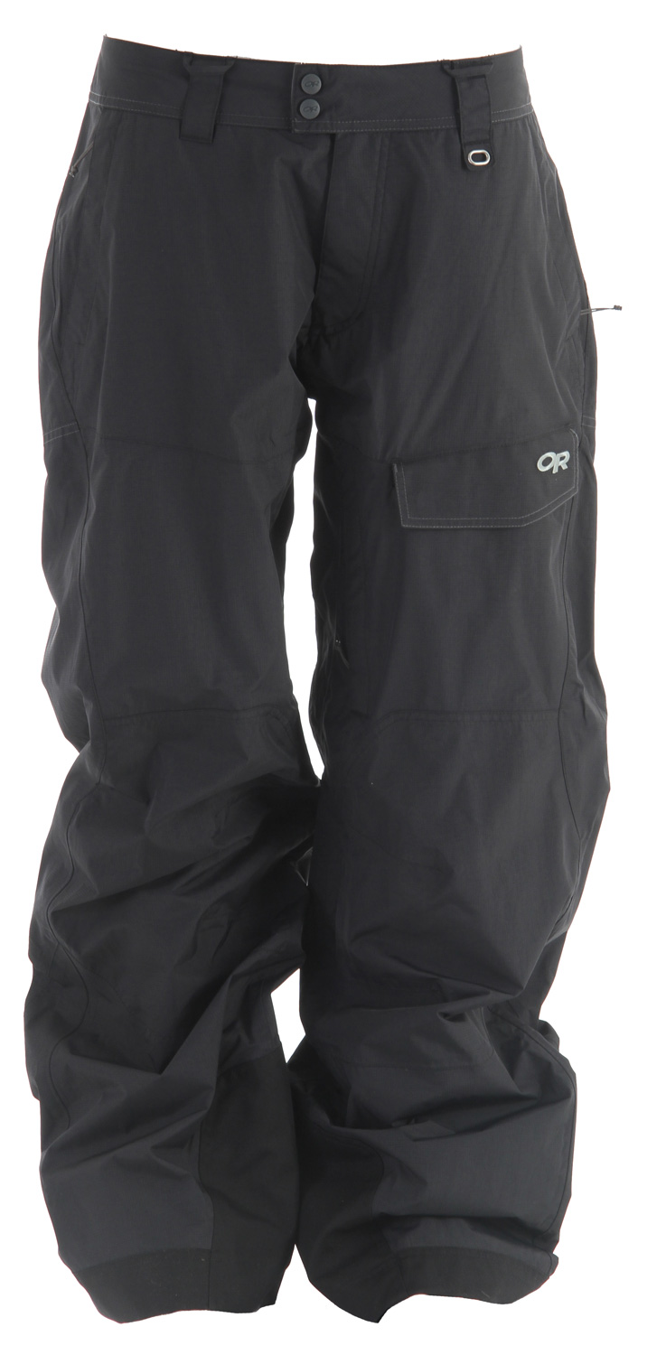 Ski The Outdoor Research Backbowl Ski Pant is a non-insulated sidecountry ski shell for cool, damp climates designed for layering with high breathability and protection from wet snow.Key Features of the Outdoor Research Backbowl Ski Pants: Waterproof/breathable, 2-layer 70D Pertex Shield fabric; reversed brushed tricot mesh-lined upper legs, smooth taffeta-lined lower leg Integrated RECCO reflector Fully seam taped Snap and zipper ?y; belt loops Accepts accessory suspenders Inner thigh vents Zippered hand pockets, one with beacon pocket with key-clip attachment Two back hook/loop flap pockets; zippered security pocket Hook/loop cargo pocket Fully-engineered leg shaping to maximize natural movement Gusseted crotch Internal mesh gaiters with gripper elastic Reinforced ankle scuff guards - $116.95