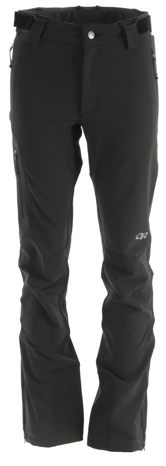 Ski Technical soft shell for cold, winter alpine conditions, the Outdoor Research Cirque Ski Pant is weather-resistant and breathable for high-energy climbing and ski touring.Key Features of the Outdoor Research Cirque Ski Pants: Durable, highly-breathable and wind resistant double-weave, stretch woven fabric; brushed nylon face/polyester backing Button and zipper fly with adjustable elastic tabs; belt loops Zippered hand pockets, right pocket on thigh, and back pocket Accepts accessory suspenders Gusseted crotch Articulated knees Reinforced ankle scuff guards Zippered cuff closures with gusset and drawcord Grommets for instep lace; boot lace clip - $150.00