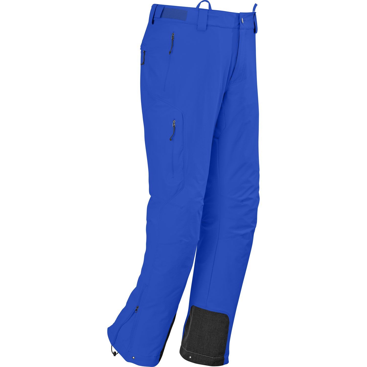 Ski Technical soft shell for cold, winter alpine conditions, the Outdoor Research Cirque Ski Pant is weather-resistant and breathable for high-energy climbing and ski touring.Key Features of the Outdoor Research Cirque Ski Pants: Durable, highly-breathable and wind resistant double-weave, stretch woven fabric; brushed nylon face/polyester backing Button and zipper fly with adjustable elastic tabs; belt loops Zippered hand pockets, right pocket on thigh, and back pocket Accepts accessory suspenders Gusseted crotch Articulated knees Reinforced ankle scuff guards Zippered cuff closures with gusset and drawcord Grommets for instep lace; boot lace clip - $97.95