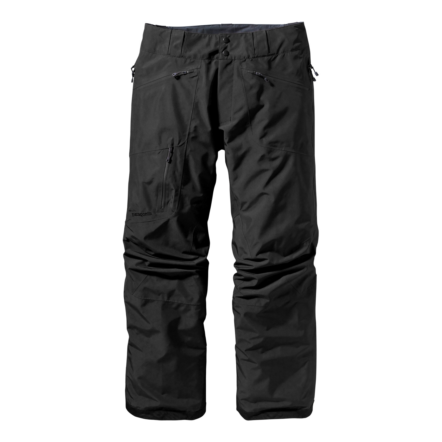 Ski Let Patagonia Powder Bowl Pants complete your backcountry ensemble. The shell pants, engineered GORE-TEX Performance Shell uses the most durable nylon face fabrics available. The 2-layer construction uses a GORE-TEX membrane, which is bonded to the outer material and protected on the inside by a separate lining for better wear, greater comfort, and waterproof/breathable protectionKey Features of the Patagonia Powder Bowl Ski Pants: Durable 2-layer polyester shell with waterproof/breathable GORE-TEX Performance Shell and a Deluge DWR (durable water repellent) finish, keeps you dry during a heavy snowstorm; combination of a brushed and slick mesh lining keeps you warm and wicks away moisture Waist details: Soft brushed tricot lining wicks moisture; adjustable elastic tabs customize the fit; two-snap closure and zip fly Loops on rear yoke securely attach pant to powder skirt on any Patagonia Ski/Snowboard Jacket to keep snow out Slim Zip installation with watertight coated zippers for reduced zipper bulk and weight Gusseted crotch and articulated knees improve mobility and reduce bulk; external thigh vents quickly release heat Gaiters keep the snow out, while tough scuff guards protect inside of leg and bottom hem Pockets: Two handwarmers, one back hip, one right thigh - all with secure zip closures Regular fit (27.8 oz) 788 g Fabric: Shell: 2-layer, 4.3-oz 150-denier 100% polyester with waterproof/breathable GORE-TEX Performance Shell and a Deluge DWR finish. Lining: Seat, upper thighs: 100% brushed polyester mesh; legs: 100% polyester mesh - $223.95