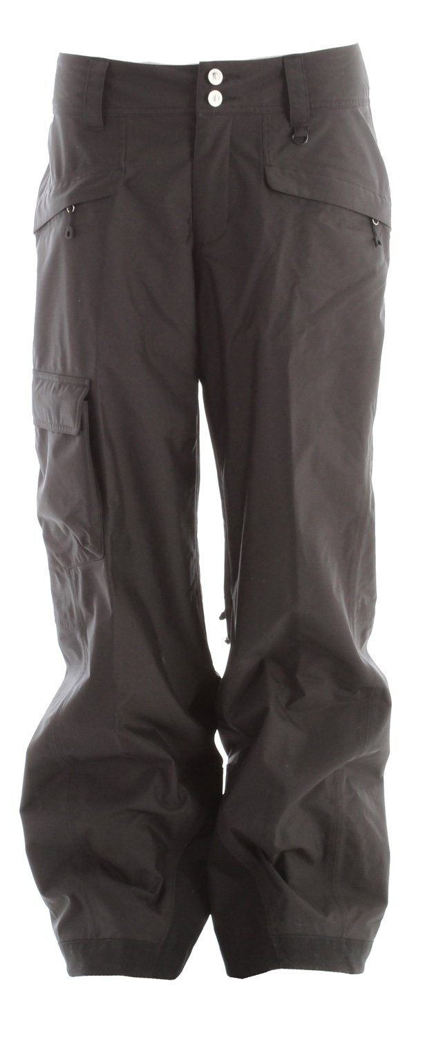 Ski These Patagonia Snowshot Ski Pants are designed for the freerider who rides 100-plus days. The pants, made with a durable 2-layer polyester fabric, have a waterproof/breathable H2No barrier for all-day weather protection. Pant loops securely attach to the Snowshot Jacket's powder skirt to keep snow outKey Features of the Patagonia Snowshot Ski Pants: Durable 2-layer polyester has a waterproof/breathable H 2No barrier, and Deluge DWR (durable water repellent) finish for storm protection; combination of a brushed and slick mesh lining keeps you warm and wicks away moisture Waist details: Soft, brushed tricot lining wicks moisture; adjustable elastic tabs customize the fit; two-button closure and zip fly Loops on rear yoke securely attach pant to powder skirt on any Patagonia Ski/Snowboard Jacket to keep snow out Mesh-lined interior thigh vents release heat and keep snow out; articulated knees improve mobility Gaiters keep the snow out, while tough scuff guards protect inside of leg and bottom hem Pockets: Two secure zippered handwarmers, two rear and one right thigh that secure with hook and loop Relaxed fit (27.6 oz) 782 g Fabric: Shell: 2-layer, 5.6-oz 150-denier 100% polyester with waterproof/breathable a H2No barrier and a Deluge DWR finish. Lining: seat and thighs: 100% polyester brushed mesh; lower legs: 100% polyester mesh - $112.95