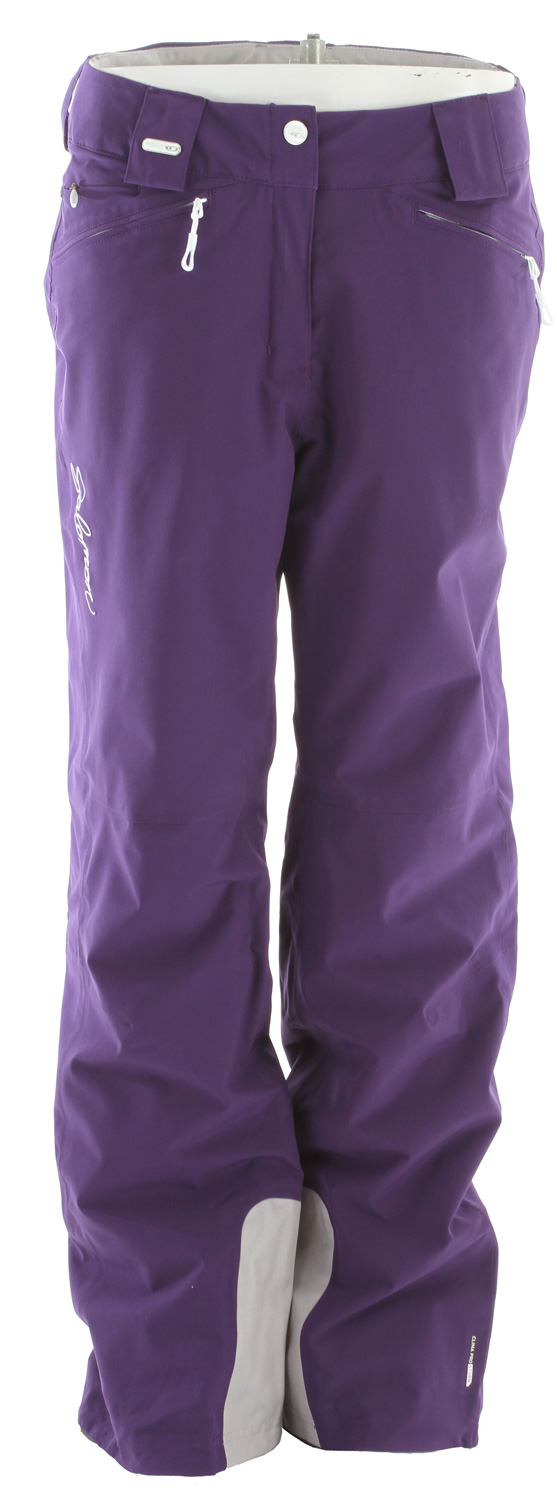 Ski 4 way stretch climapro storm insulated pant with feminine style and active fit.Key Features of the Salomon Brilliant Ski Pants:  actiLOFT insulation 60gr/m  climaPRO Storm  100% taped  Waist adjustment  FIT: active  Weight 630  COMPOSITION LINING INSERT: PES 100% PADDING: PES 100% LINING: PA 100% BODY: PES 86%, EL 14% - $119.95