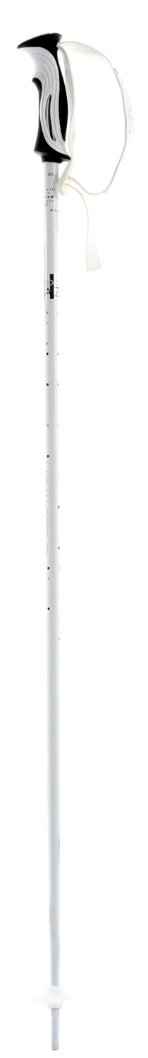 Ski Key Features of the Salomon Topaz White Ski Poles: Alu **** Shaft diameter: 16mm Ergonomic Bi-material women grip Standard translucent basket Standard strap Ice tip - $33.95