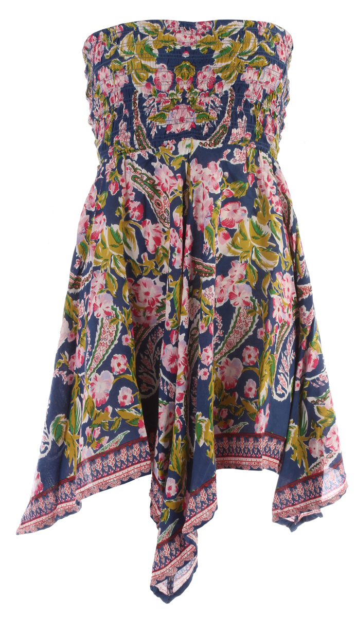 Surf Key Features of the Billabong Call It A Dream Dress: 100% rayon woven bandeau dress w/ an all-over paisley floral border print smocked bodice handkerchief hem - $49.50